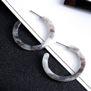 Acrylic Hoop Statement Earrings - Marble